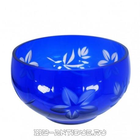 Конфетница, двухслойное синее стекло