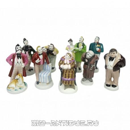 """Комплект из 9 статуэток гоголевских персонажей пьесы """"Ревизор"""" и романа """"Мертвые души"""""""